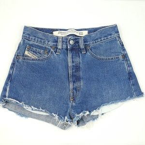 Diesel Industry Denim High Rise Button Fly Shorts